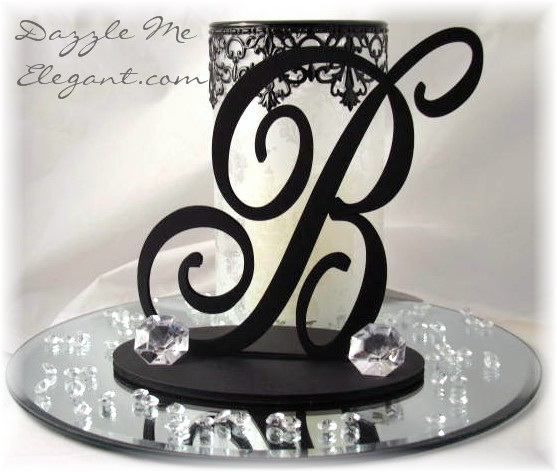 black monogram wedding cake toppers