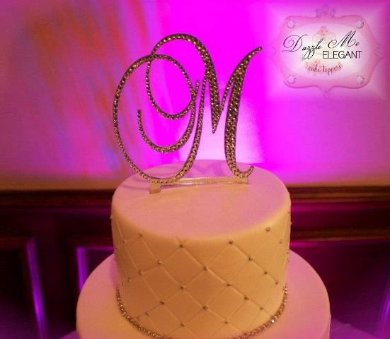Crystal monogram wedding cake topper by Dazzle Me Elegant