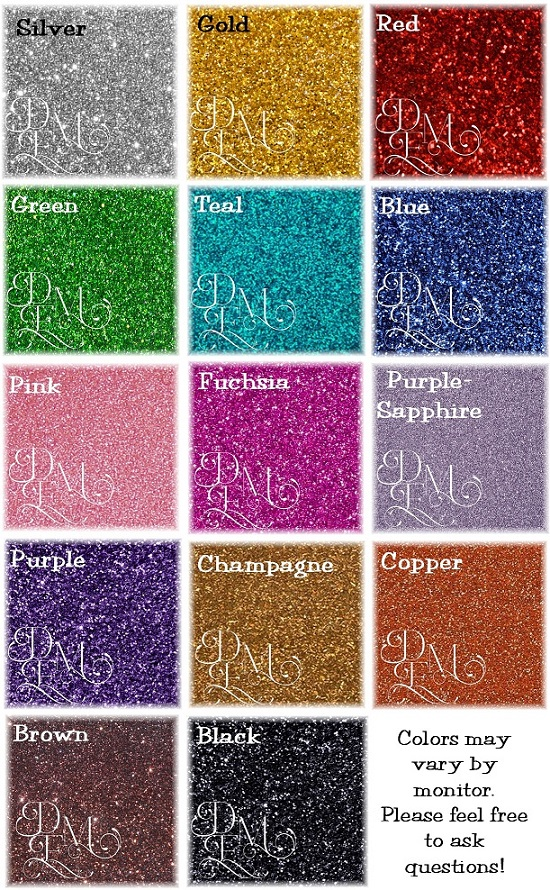Glitter Cake Topper Color Chart