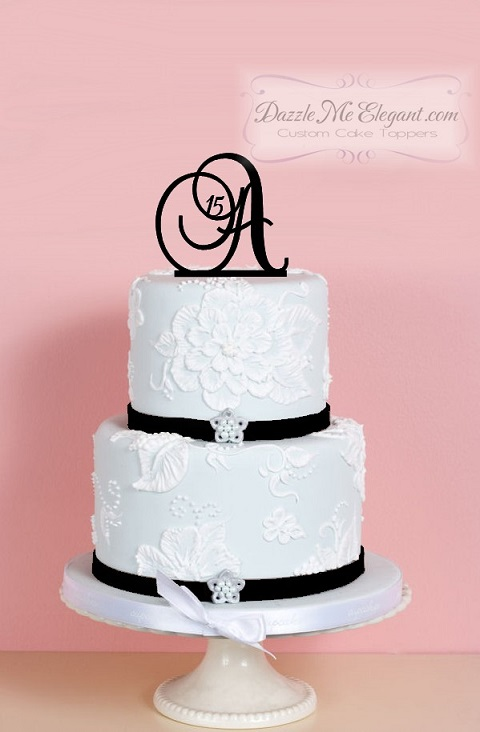 Monogram Birthday Cake Topper With Number