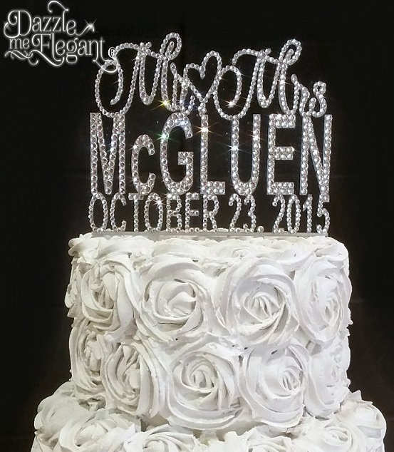 Mr Amp Mrs Crystal Rhinestone Name With Date Wedding Cake Topper