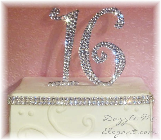 Sweet 16 crystal birthday cake topper by Dazzle Me Elegant