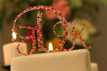 Triple Traditional Monogram Cake Topper-triple, monogram, crystal,cake, topper