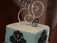 Triple Contemporary Monogram Crystal Rhinestone Wedding Cake Topper