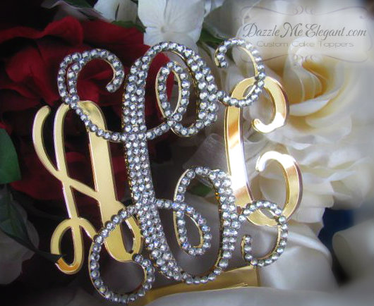 Entwined Elegance Vine Monogram Crystal Rhinestone Wedding Cake Topper - Partial