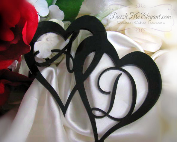 Double Heart with Initials Wedding Cake Topper