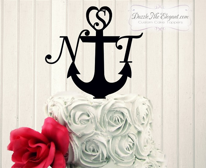 Anchor Initial Monogram Wedding Cake Topper