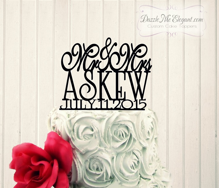 Mr & Mrs Name with Date Wedding Cake Topper