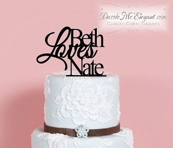 Love with Names Wedding Cake Topper