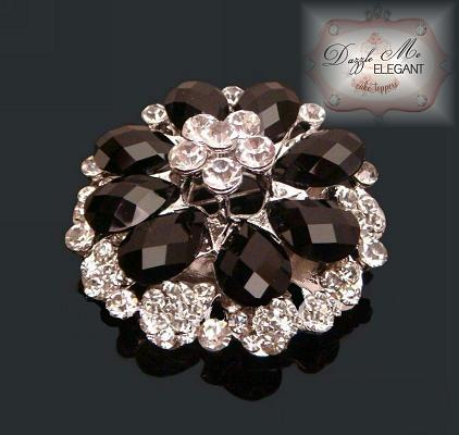 Black Crystal Cake Brooch - Gold Tone