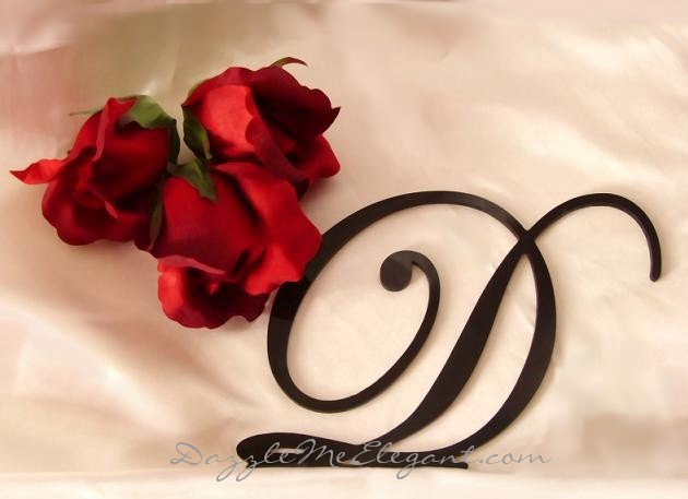 Black Cake Topper | Black Monogram Letter Initial Wedding Cake Topper