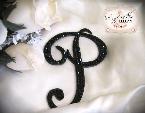 Black Crystal Wedding Cake Topper