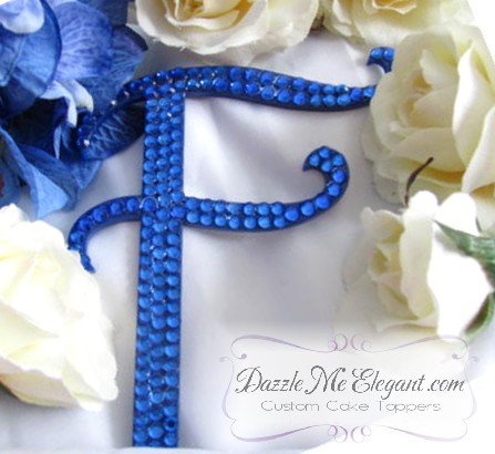 Blue Crystal Wedding Cake Topper