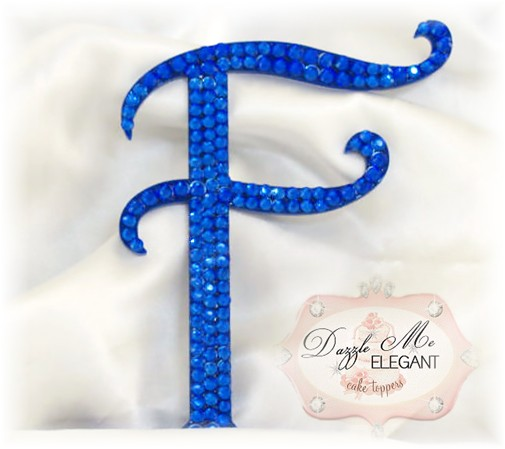Blue Crystal Cake Topper-blue monogram cake topper, blue monogram cake toppers, blue cake topper, blue, cake, topper, blue wedding topper, blue crystal cake topper, blue crystal, blue crystal wedding cake topper, blue crystal topper, blue initial, blue letter