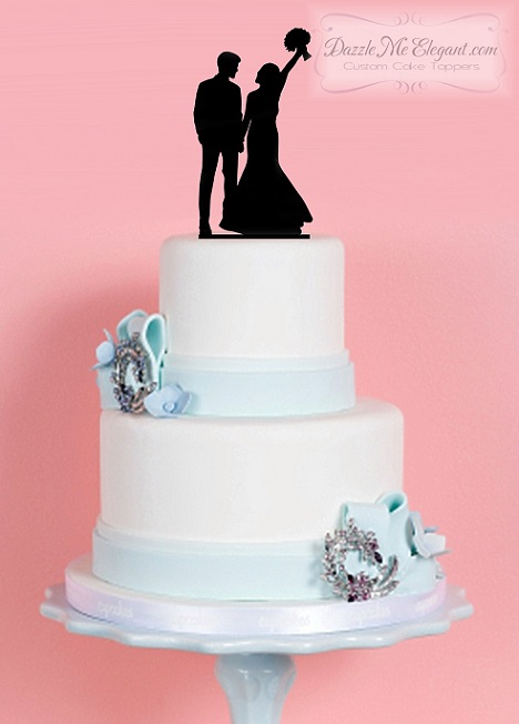 Bride and Groom Silhouette Wedding Cake Topper Arm Raised
