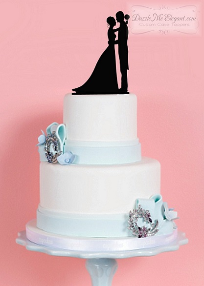 Bride and Groom Embrace 1 Silhouette Wedding Cake Topper