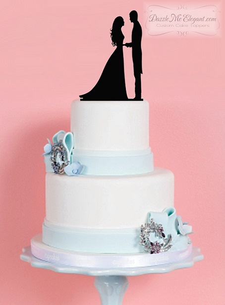Bride and Groom Embrace 2 Silhouette Cake Topper