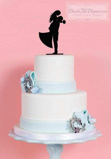 Groom Lifting Bride Silhouette Wedding Cake Topper