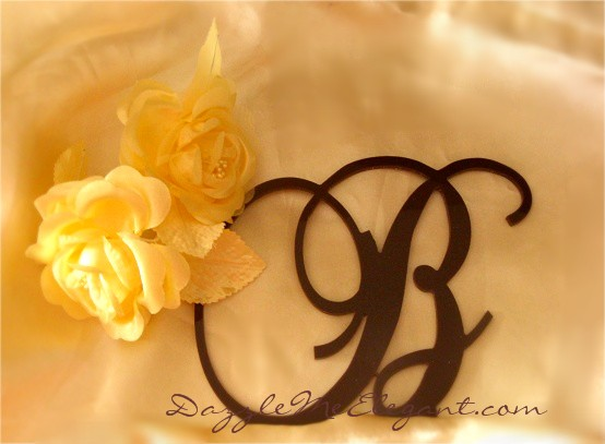 Brown Cake Topper | Monogram Letter Wedding Cake Topper