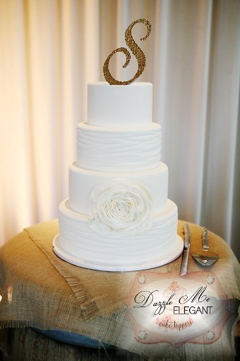 Burlap Rustic Monogram Wedding Cake Topper
