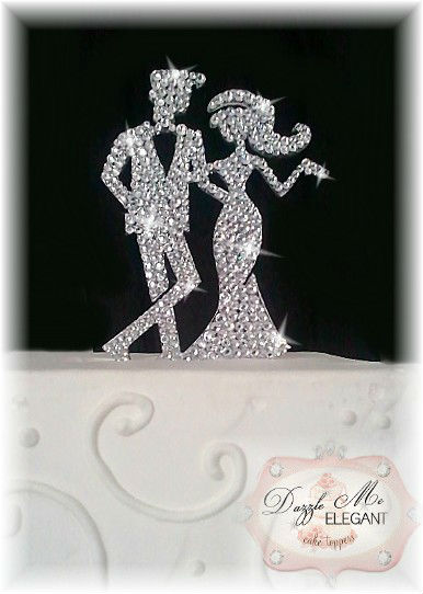 Chic Crystal Bride and Groom Wedding Cake Topper