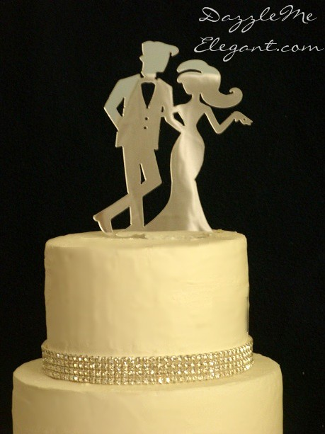 Chic Bride and Groom Wedding Cake Topper