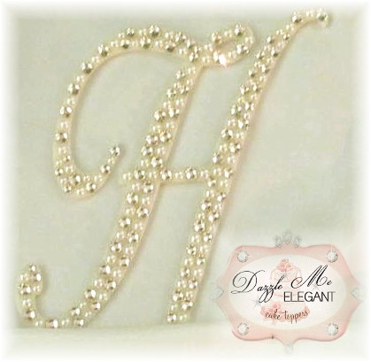 Crystal and Cream Pearl Letter H