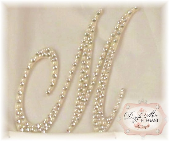 Crystal and Cream Pearl letter M