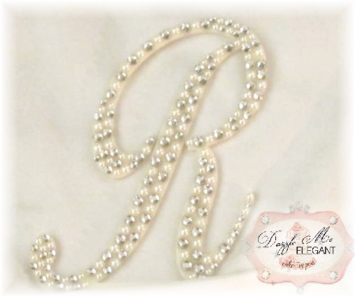 Crystal and Cream Pearl Letter R