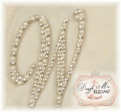 Crystal and Cream Pearl Letter W