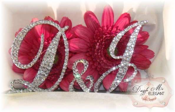 Couples Monogram Crystal Cake Topper-couples monogram, couples cake topper, cake topper, monogram cake topper, cake, topper, wedding