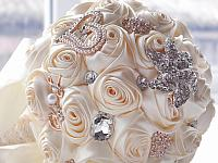 Bridal Wedding Bouquet Cream Ivory Rosette