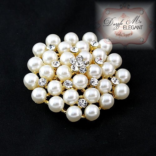 Crystal and Pearl Brooch Cream Pearl