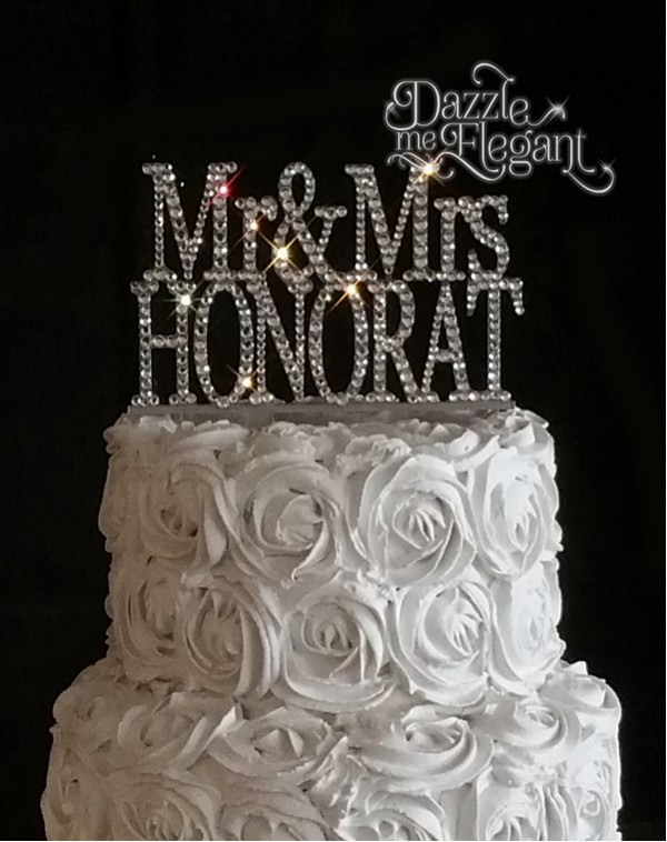 Mr & Mrs Name Crystal Rhinestone Wedding Cake Topper