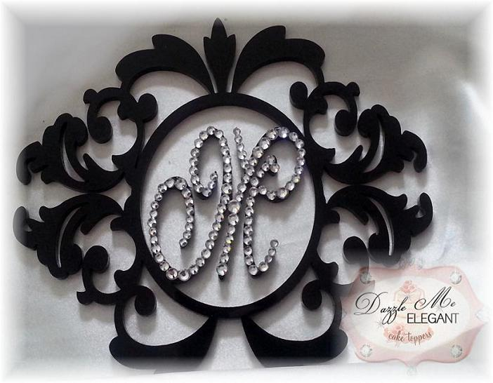 Crystal Damask Wreath Monogram Cake Topper-damask, cake, topper, wedding cake, damask cake topper, damask topper, damask decor, damask theme, damask wedding, wreath monogram, wreath cake topper, damask wreath cake topper, crystal damask, crystal cake topper