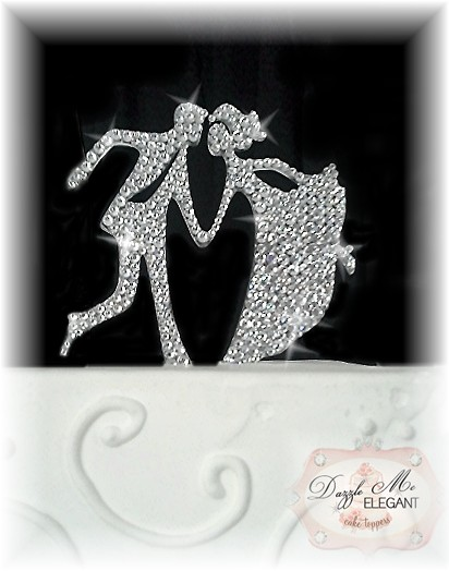 Dancing Crystal Bride and Groom Cake Topper-dancing bride and groom, chic bride and groom, cake topper, wedding bride and groom, wedding cake topper, custom cake topper, couple cake topper, crystal cake topper