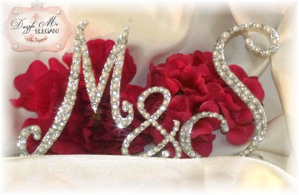 Crystal Pearl Couples Monogram Wedding Cake Topper