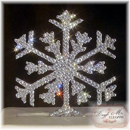 Snowflake Crystal Rhinestone Wedding Cake Topper
