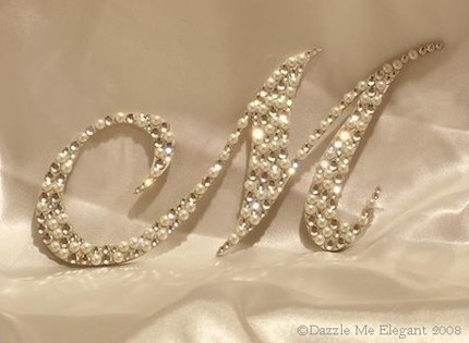 Crystal and Pearl Cake Topper-crystal, pearl, monogram, initial, cake, topper, crystal and pearl cake topper