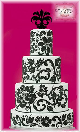 Damask Ornament Cake Topper