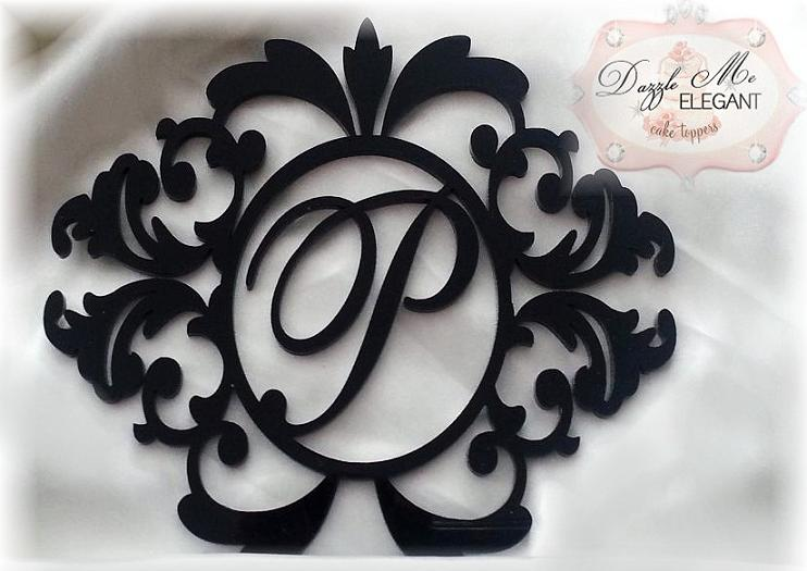 Damask Wreath Monogram Wedding Cake Topper