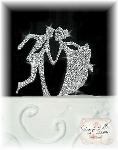 Dancing Crystal Rhinestone Bride and Groom Wedding Cake Topper