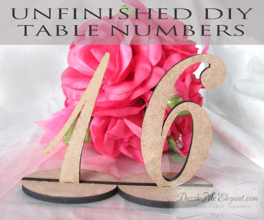 Unfinished DIY Table Numbers