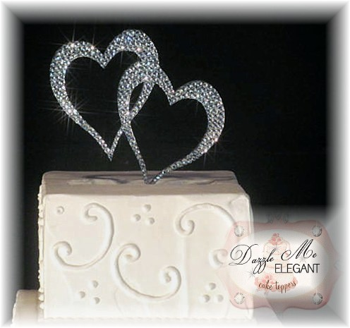 Double Heart Crystal Cake Topper-heart cake topper, heart, crystal heart, bride groom heart, cake topper, monogram cake topper
