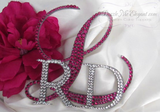 Elegant Triple Overlay Monogram Crystal Rhinestone Wedding Cake Topper