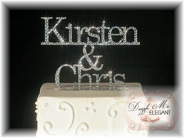Bride & Groom Name Crystal Cake Topper-black cake topper, mr and mrs cake topper, name cake topper, wedding cake topper, bride and groom cake topper, black topper, bride and groom cake toppers, traditional cake topper, stylish cake topper, name cake topper, cake topper, personalized cake topper, personalize, bride and groom, wedding topper, custom cake topper