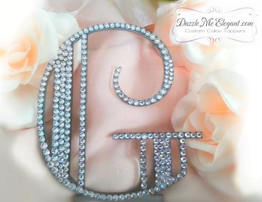 Great Gatsby | Old Hollywood Glam Crystal Rhinestone Wedding Cake Topper
