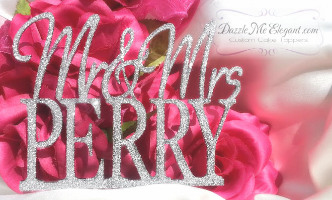 Mr & Mrs Last Name Glitter Cake Topper
