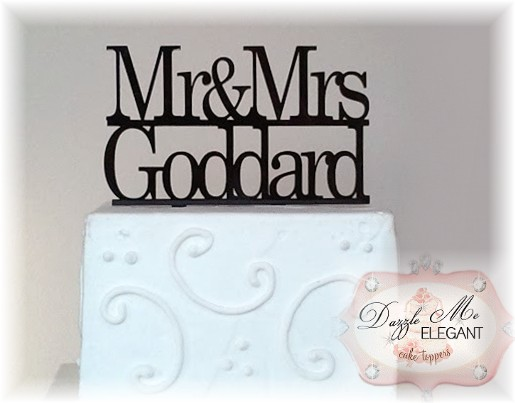 Mr & Mrs Name Cake Topper-black cake topper, mr and mrs cake topper, wedding cake topper, bride and groom cake topper, black topper, bride and groom cake toppers, traditional cake topper, stylish cake topper, name cake topper, cake topper, personalized cake topper, personalize, bride and groom, wedding topper, custom cake topper