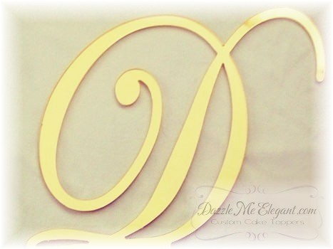 Gold Monogram Wedding Cake Topper